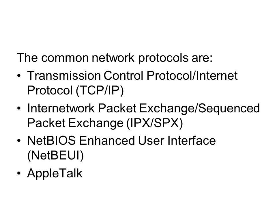 The common network protocols are: