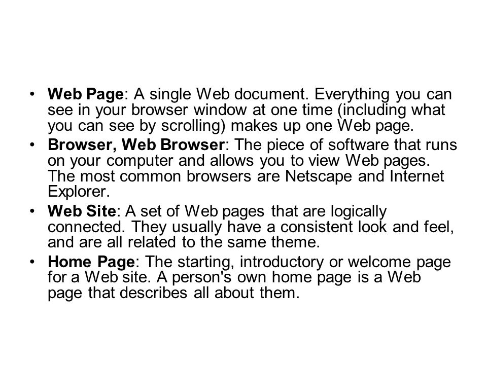 Web Page: A single Web document