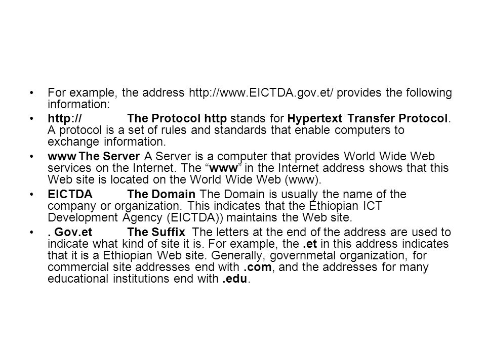 For example, the address http://www. EICTDA. gov