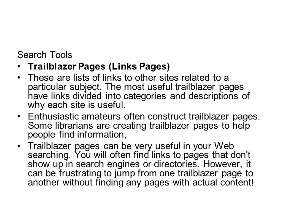 Search Tools Trailblazer Pages (Links Pages)