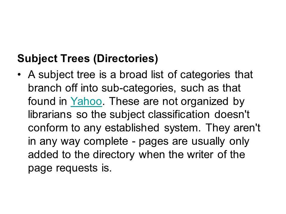 Subject Trees (Directories)