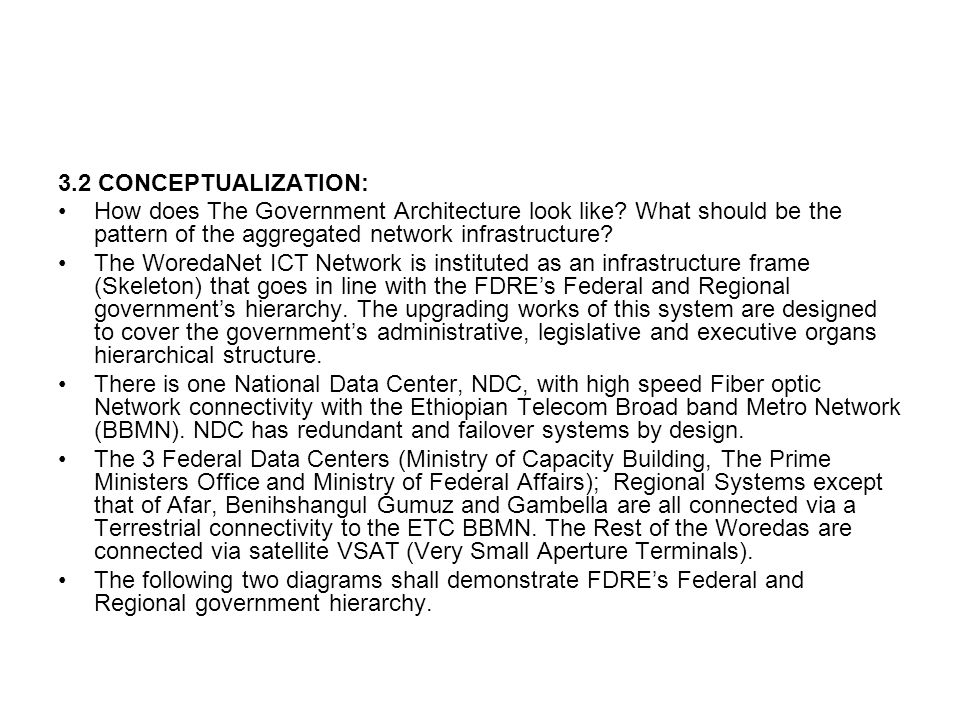 3.2 CONCEPTUALIZATION: How does The Government Architecture look like What should be the pattern of the aggregated network infrastructure