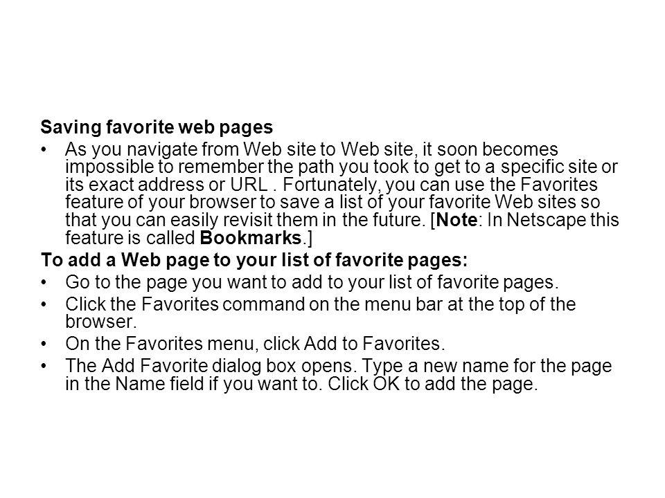 Saving favorite web pages
