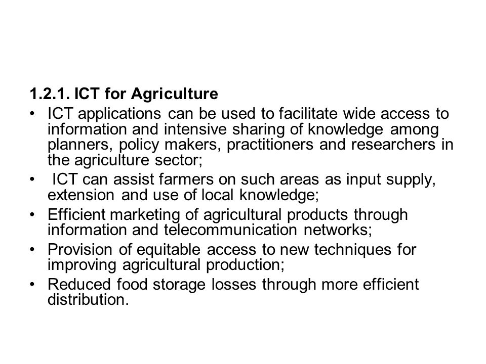 1.2.1. ICT for Agriculture