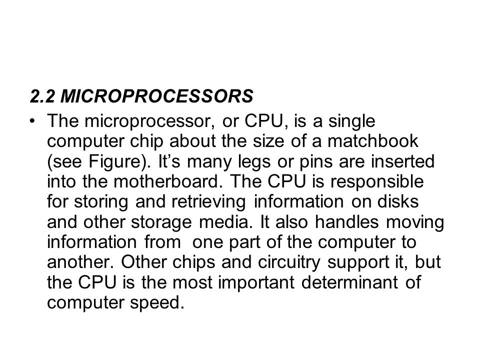 2.2 MICROPROCESSORS