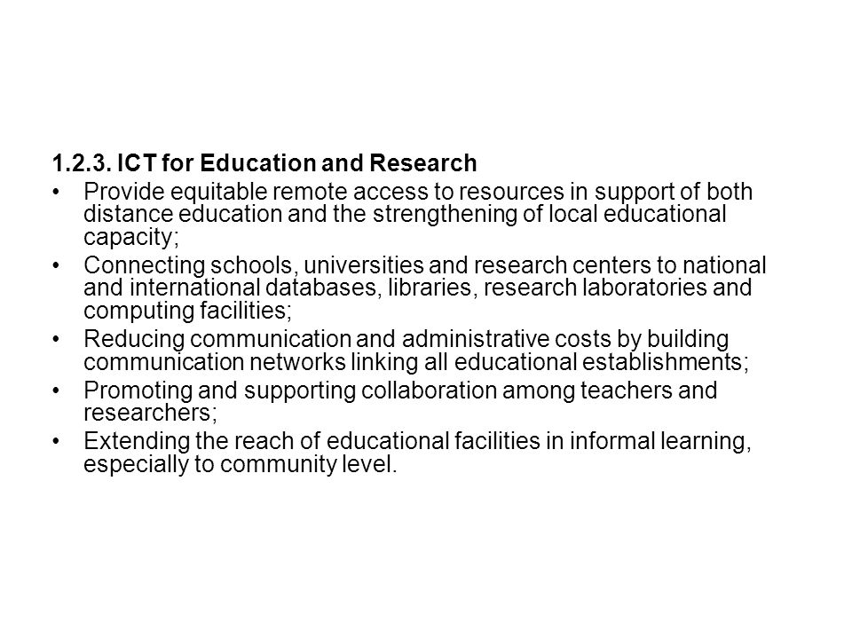 1.2.3. ICT for Education and Research