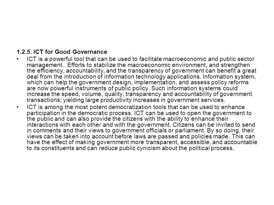 1.2.5. ICT for Good Governance