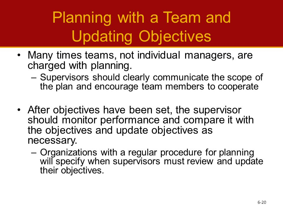 the role of the supervisor in organizational planning Planning, organization & management of school an organizer is to link planning with all other roles of organization is a means to bring the plan into.