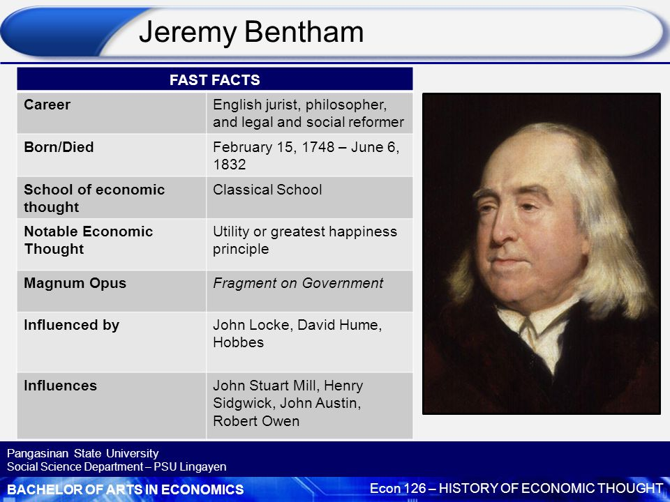 jeremy bentham influence on future Monuments of imperial russian law: bentham s influence march 12, 2012 - 6:57pm by michael widener jeremy bentham, the noted jurist and legal philosopher.