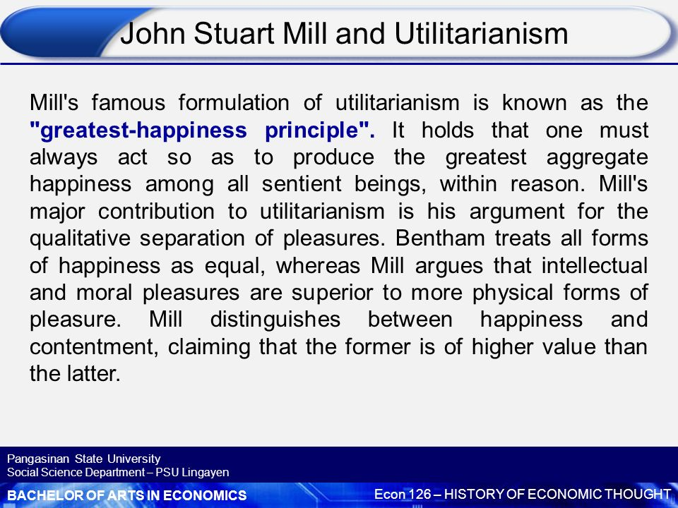 """explain the main principles of the classical forms of utilitarianism essay Classical utilitarianism  then they should adhere to the general rule form here, act utilitarianism is considered the """"critical"""" level of moral thinking ."""