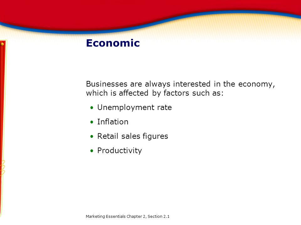 Economic Businesses are always interested in the economy, which is affected by factors such as: Unemployment rate.