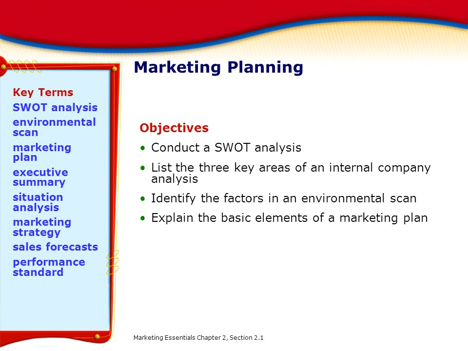 Marketing Planning Objectives Conduct a SWOT analysis
