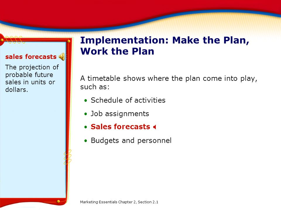 Implementation: Make the Plan, Work the Plan