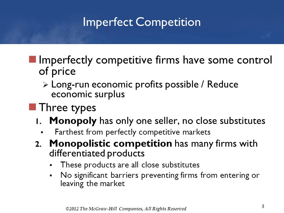 imperfect competition market analysis ▫perfect competition is a market structure chactarised by a complete absence of  rivalry among the individual firms ▫in economic theory it has a meaning.