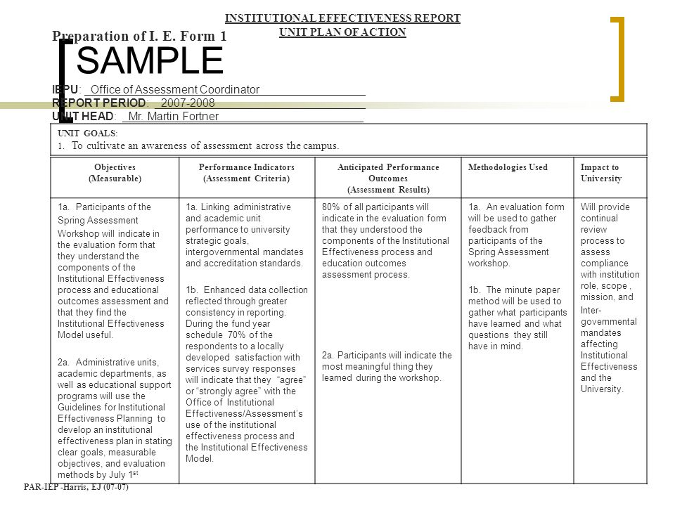 Writing educational a k a student learning objectives - Office of institutional effectiveness ...