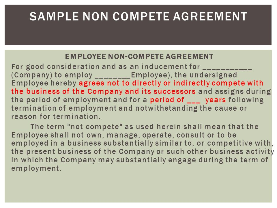 Sample Non Compete Agreement Download Selol Ink