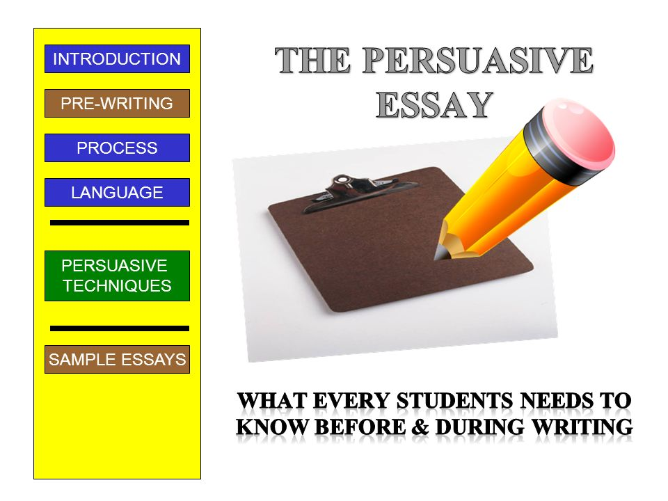 persuasive essay introduction techniques Opening paragraph in a persuasive essay this introduction is your only opportunity to make your reader want to sit up and introduction to a persuasive essay.