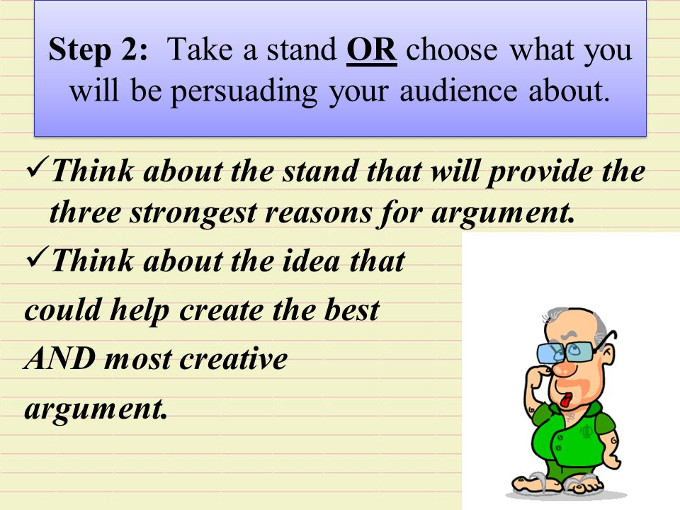 take a stand essay Almost all of us—even if we don't do it consciously—look early in an essay for   a strong thesis statement takes some sort of stand  first, it fails to take a stand.