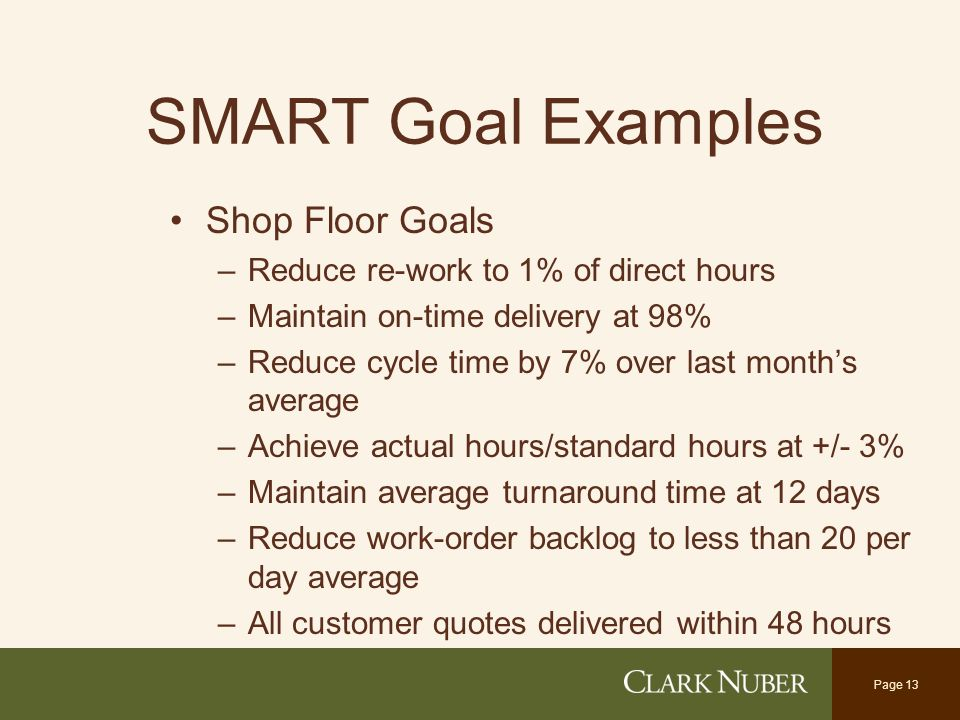 examples of goals for work