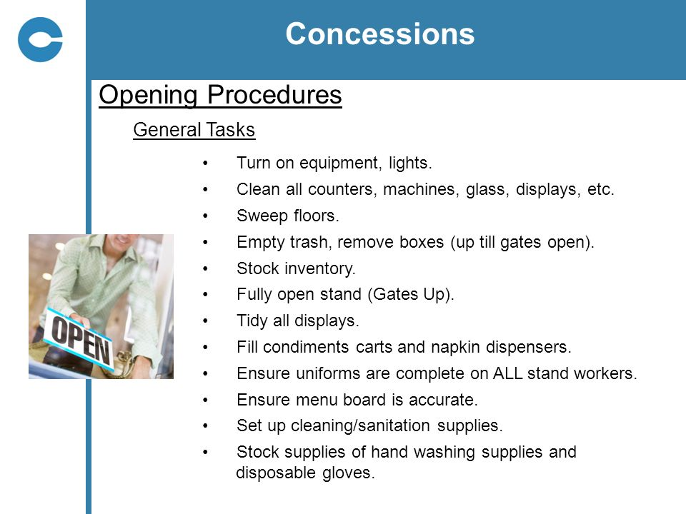 Concessions Opening Procedures General Tasks