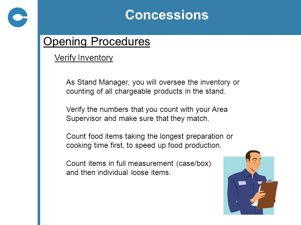 Concessions Opening Procedures Verify Inventory