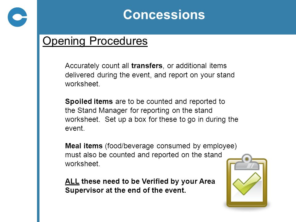 Concessions Opening Procedures