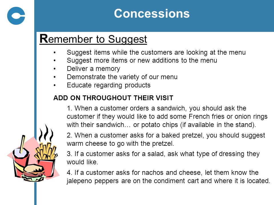 Concessions Remember to Suggest