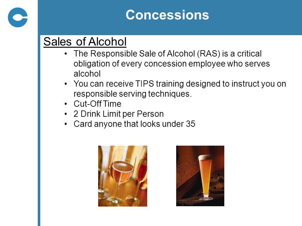 Concessions Sales of Alcohol