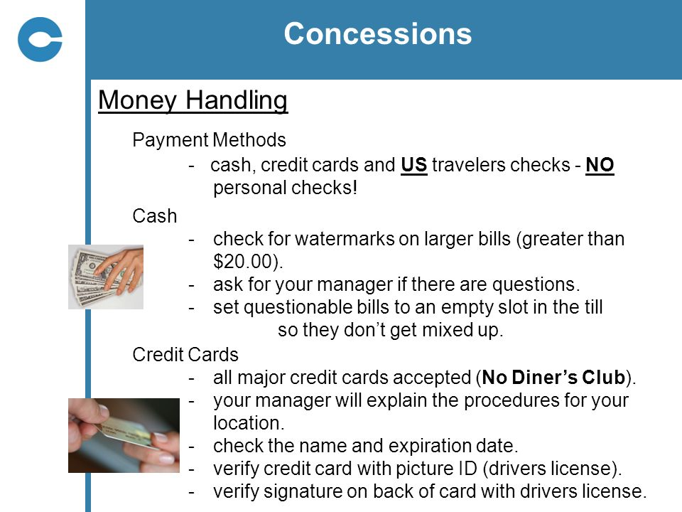 Concessions Money Handling Payment Methods