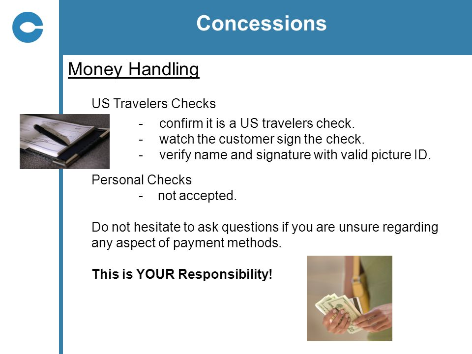 Concessions Money Handling US Travelers Checks