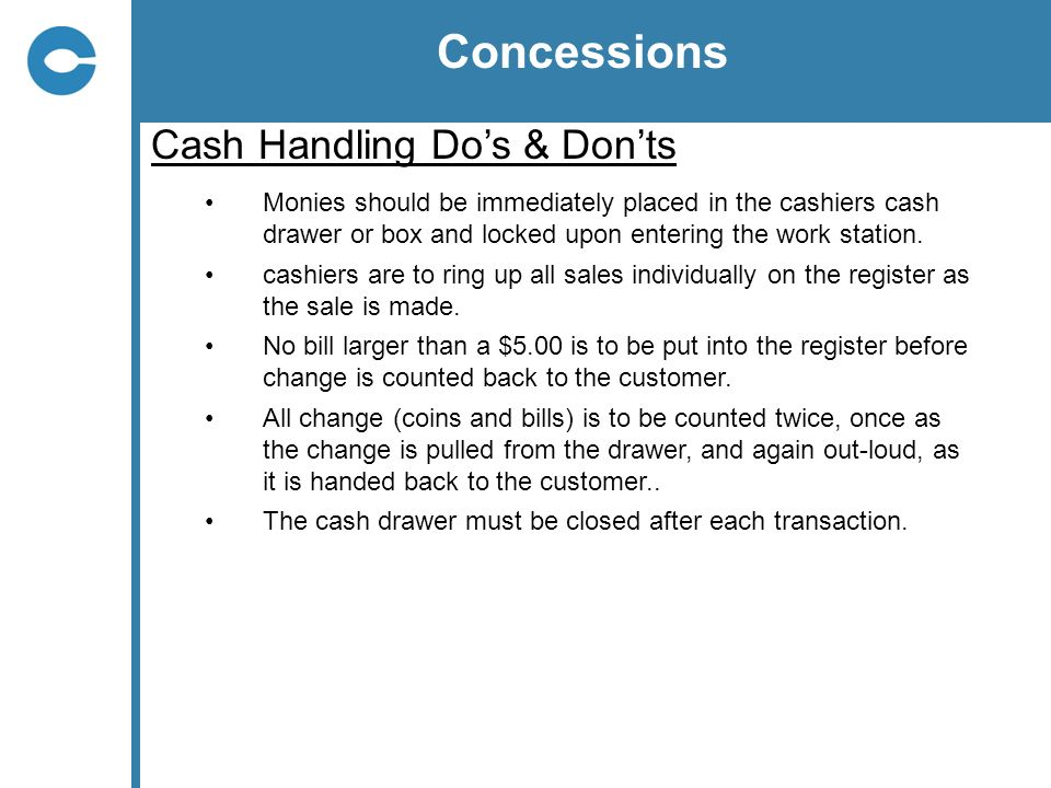 Concessions Cash Handling Do's & Don'ts