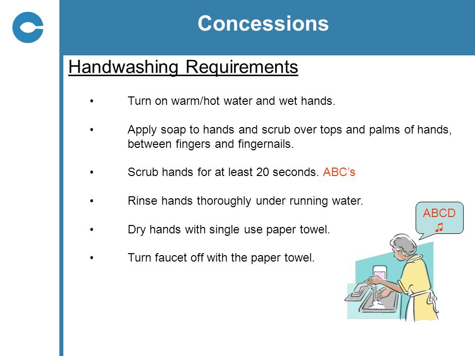 Concessions Handwashing Requirements