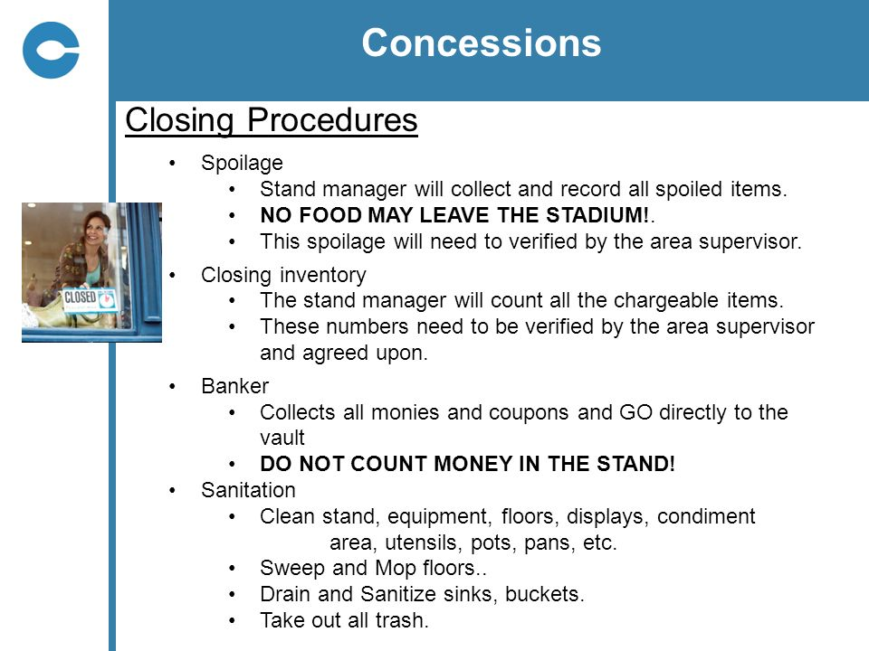 Concessions Closing Procedures Spoilage