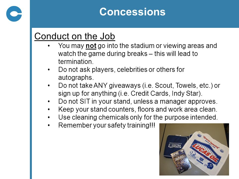 Concessions Conduct on the Job