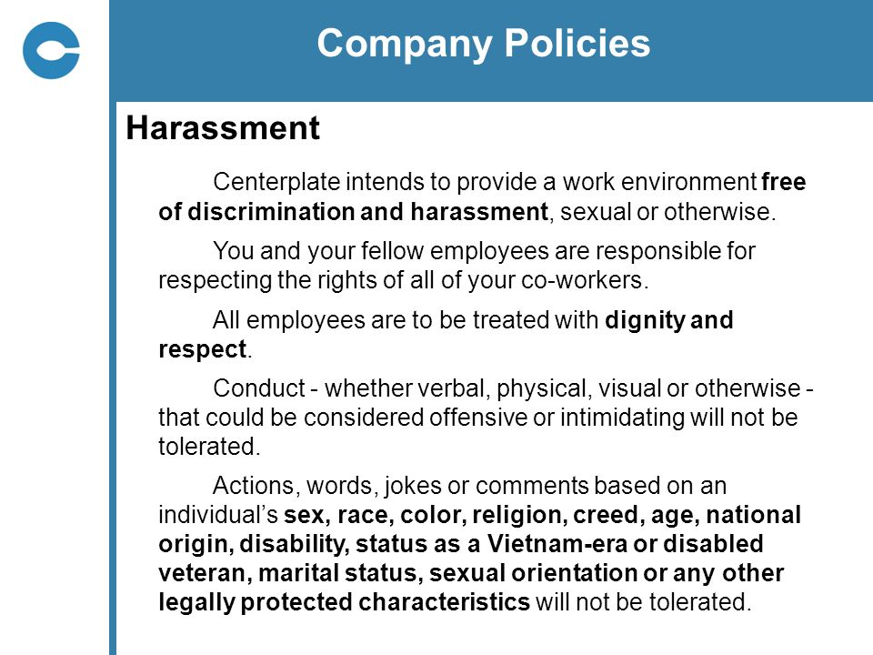 Company Policies Harassment