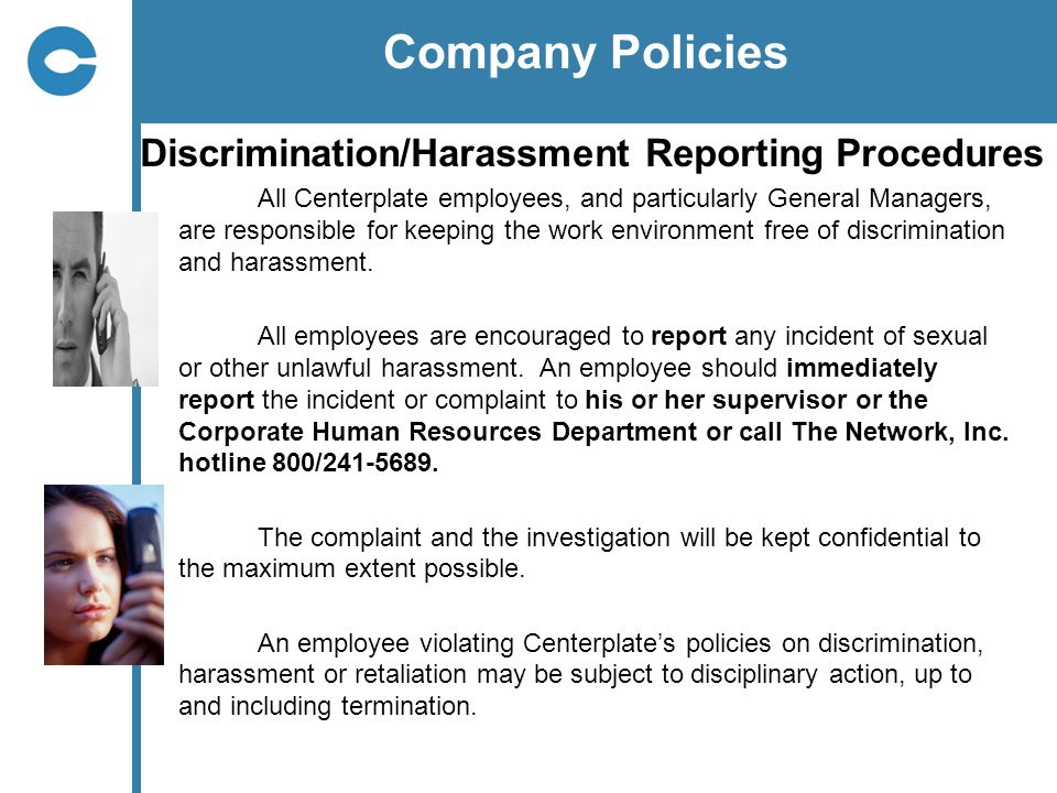 Company Policies Discrimination/Harassment Reporting Procedures