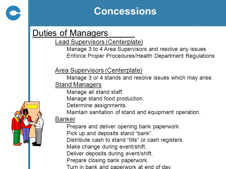 Concessions Duties of Managers Lead Supervisors (Centerplate)