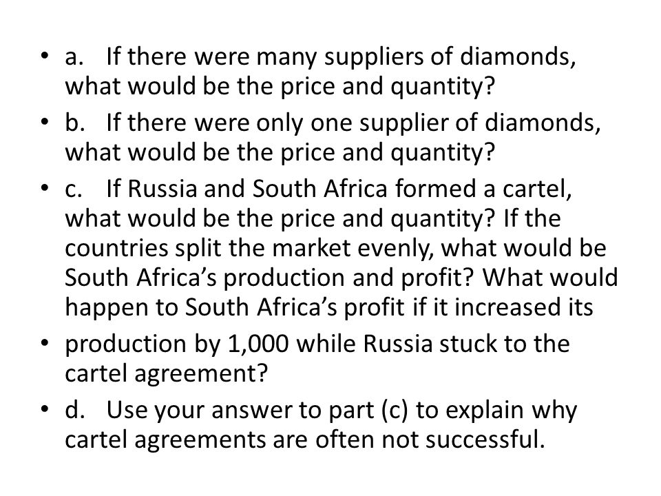 cartel agreement explained Instability of cartels is fairly easy to explain from the point of view of theory of   from the cartel agreement will bring it temporarily higher-than-cartel profits.