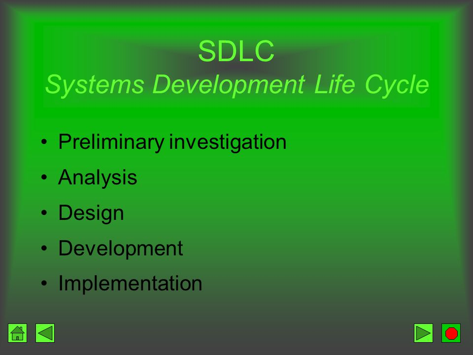 SDLC Systems Development Life Cycle