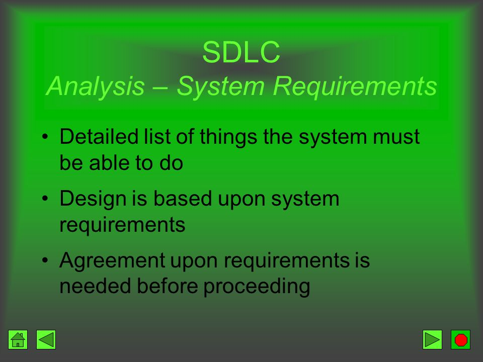 SDLC Analysis – System Requirements