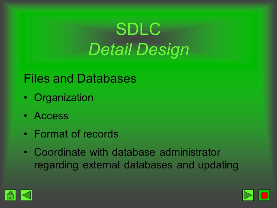 SDLC Detail Design Files and Databases Organization Access