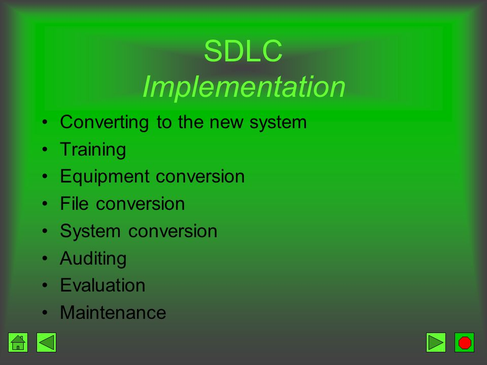 SDLC Implementation Converting to the new system Training