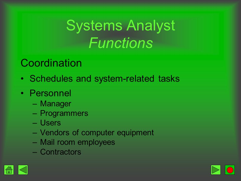 Systems Analyst Functions