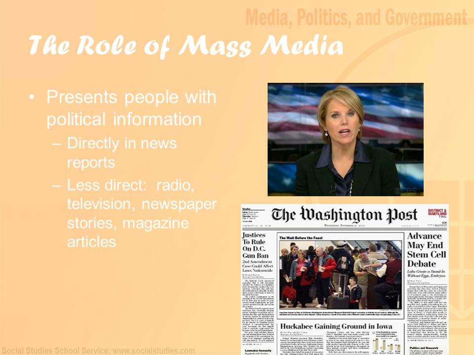 the major role of news media in american politics What events have shaped the media's role in reporting politics since the beginning of american history  milestones in america's history of media and politics:  of events in the news as .