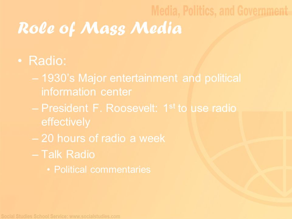 an analysis of the role of mass media in politics Download citation | the political role o | this article examines the political role of the mass media in contemporary japan journalists, especially newspaper reporters, have long enjoyed privileged access to politicians through a system of kisha (reporters') clubs, a system which allows for.