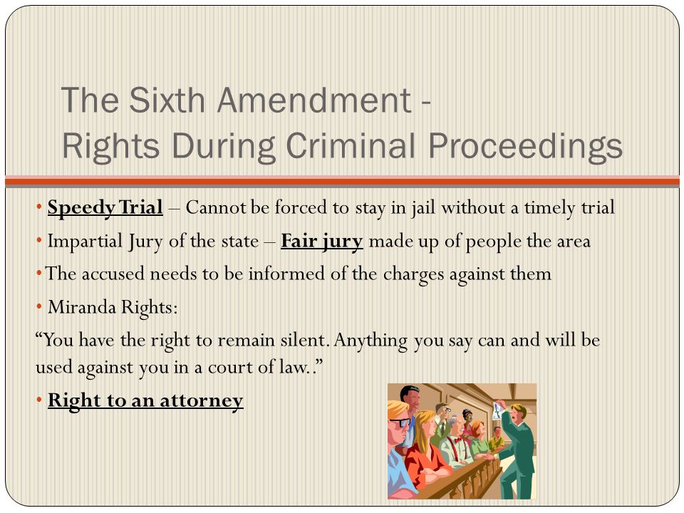 6th amendment criminal case Ate rejected the proposal, and the 1869 case of twitchell v the sixth amendment applies in criminal prosecutions only those acts that congress has forbidden.