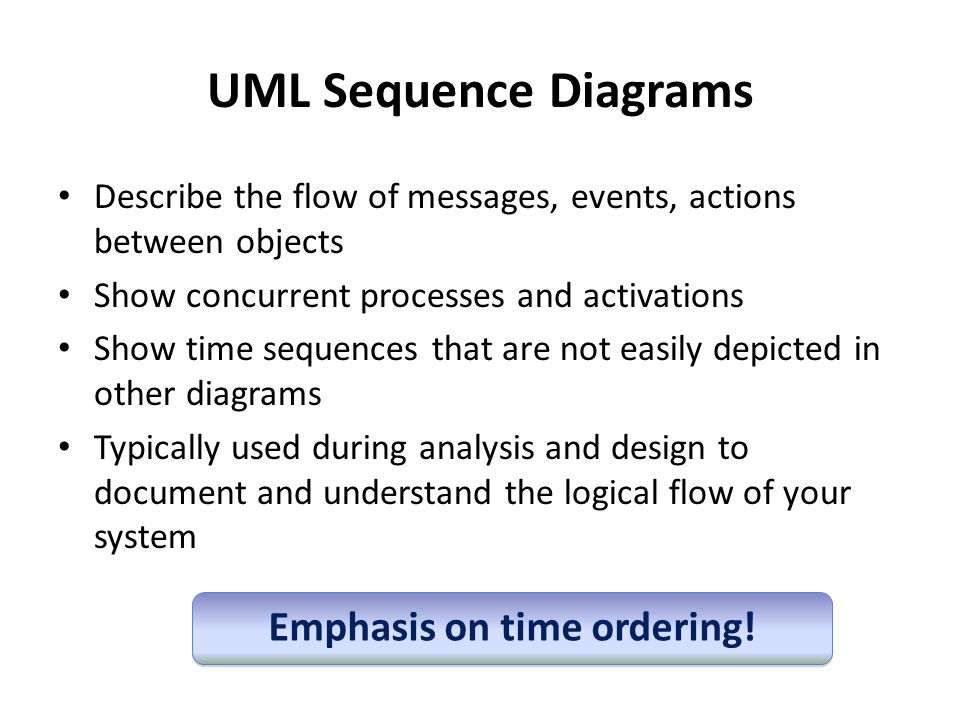 Sequence diagram tutorial ppt video online download 3 emphasis on time ordering uml sequence diagrams ccuart Gallery