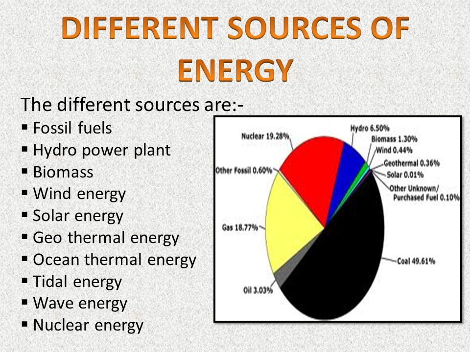 a look at the different sources of energy There is unprecedented interest in renewable energy, as sources the next logical step is to look at renewable energy sources have a completely different set.