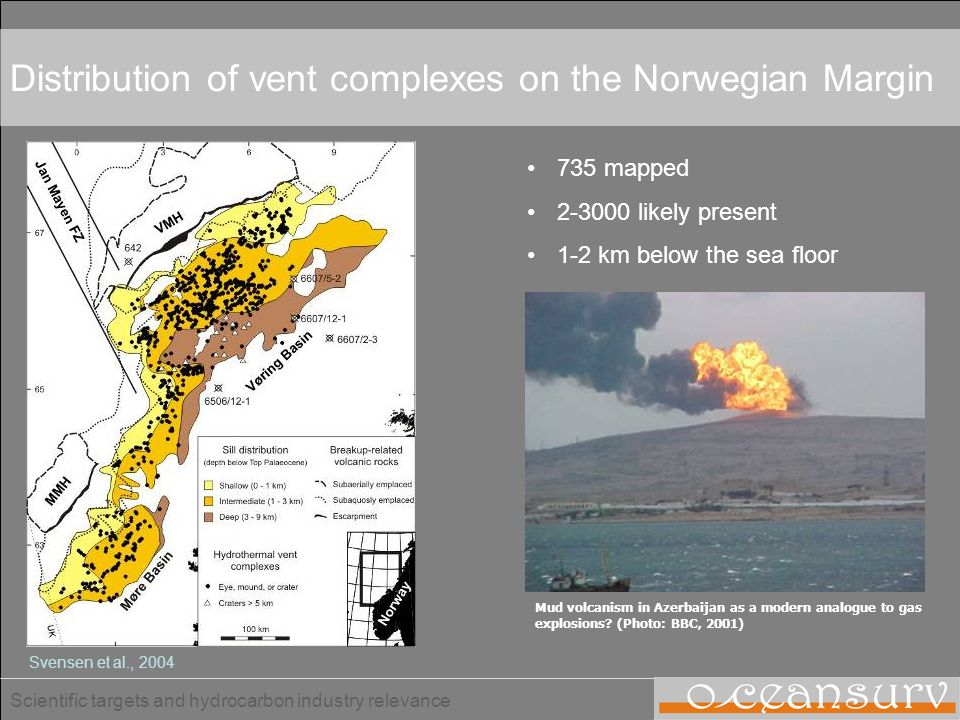 Distribution of vent complexes on the Norwegian Margin