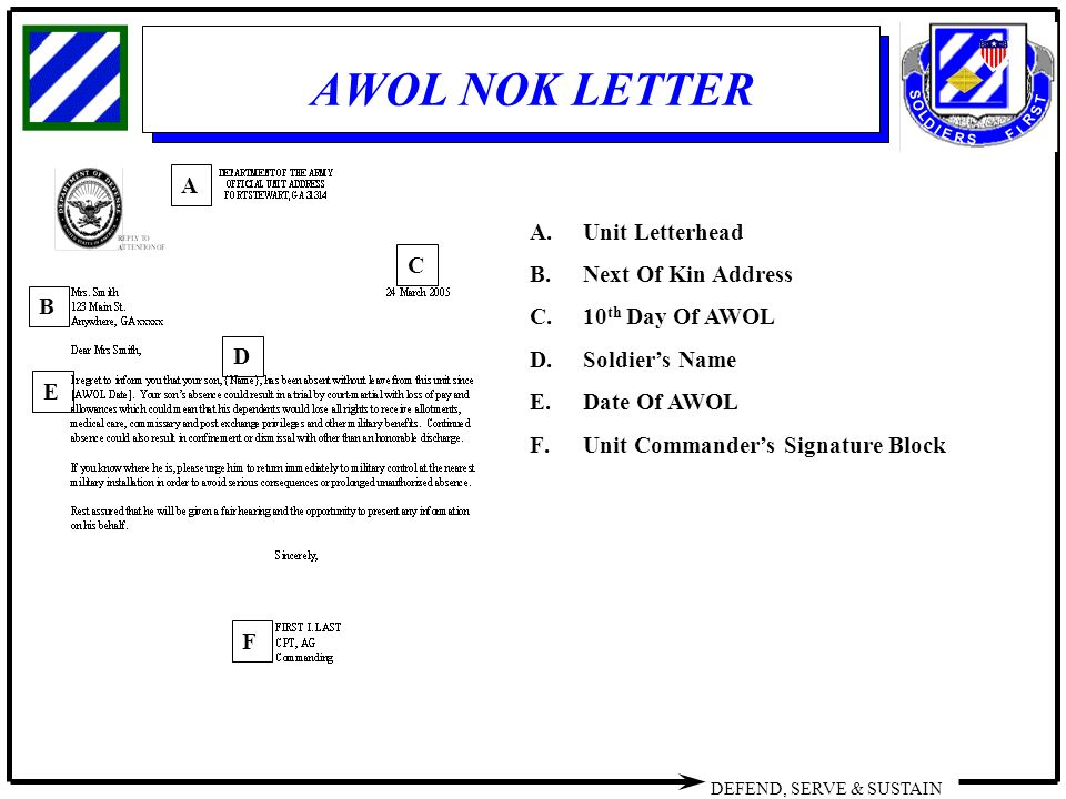 Absent without leave dropped from rolls ppt video online download 8 awol nok letter altavistaventures Image collections